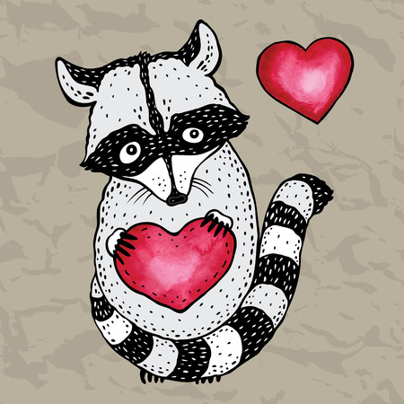 Raccoon carrying a heart. Vector