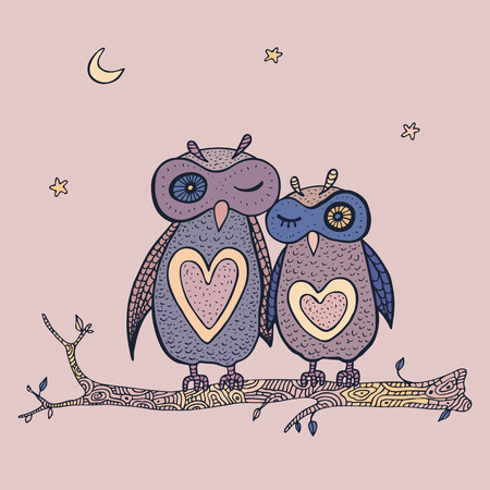 Two cute decorative owls. Vector
