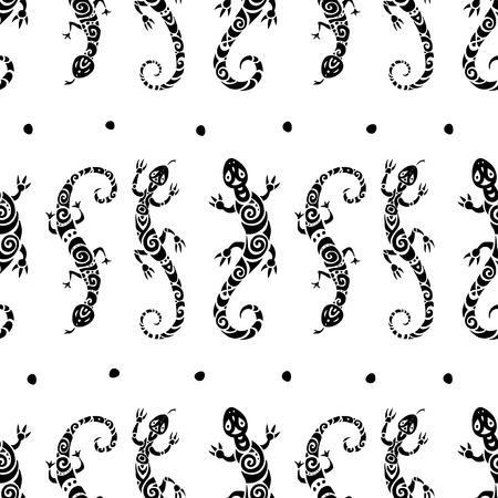 salamandre: Lézards. Seamless pattern.