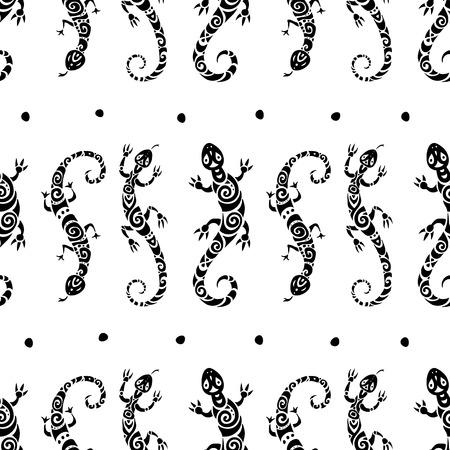 Lizards. Seamless pattern. Illustration