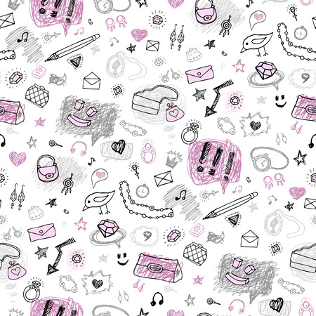 Accessories. Hand drawn seamless pattern. Vector