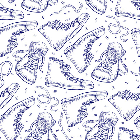 seamless background: Sneakers. Seamless background. Illustration