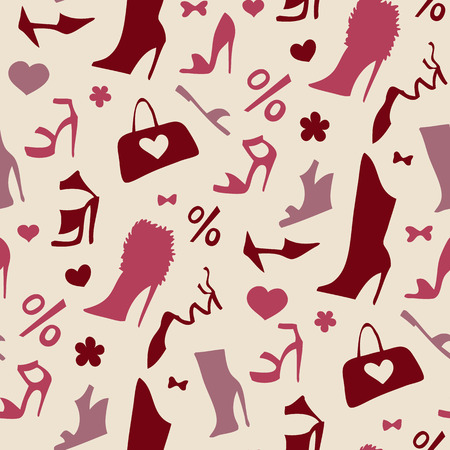 Women shoes Seamless pattern. Vector