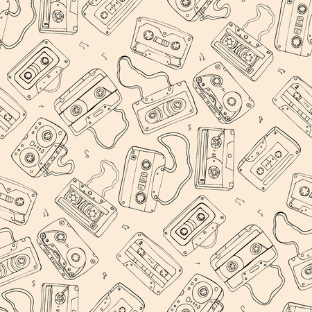 Audio cassette. Seamless pattern. Vector