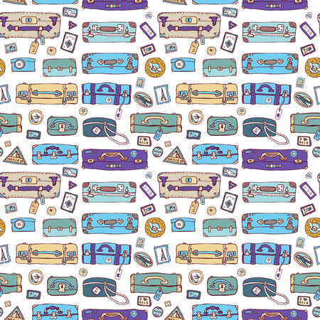 Suitcases. Seamless background. Vector