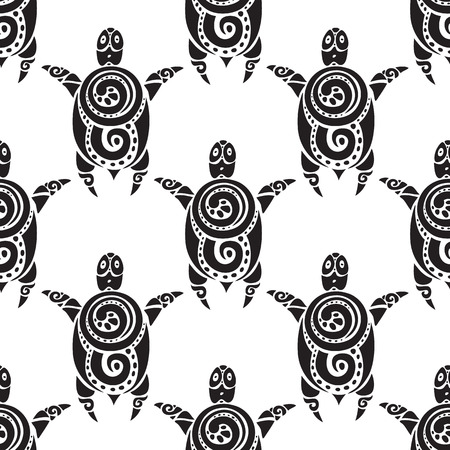 Schildpadden. Naadloze vector patroon. Stock Illustratie