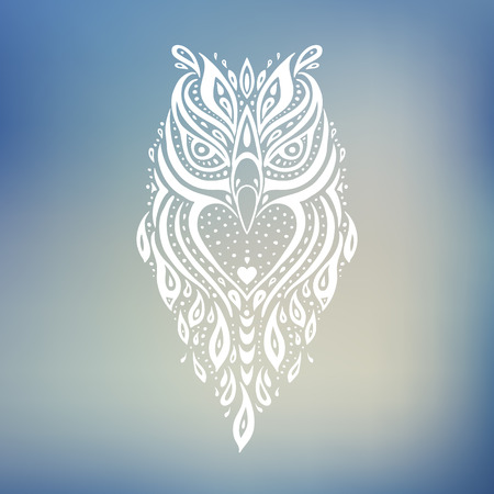 lines: Decorative Owl. Ethnic pattern.