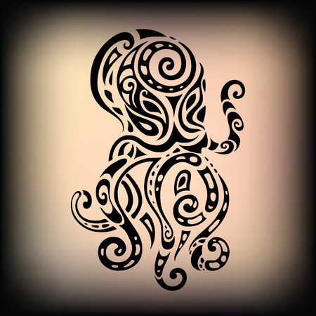 black octopus: Ocean octopus. Ethnic pattern.