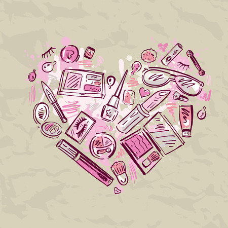 Heart of Makeup products set. Vector