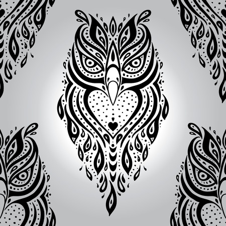 eagle owl: Decorative Owl. Seamless pattern.