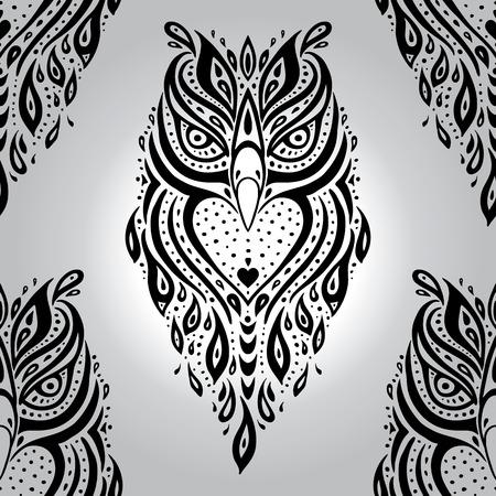 tattoo traditional: Decorative Owl. Seamless pattern.