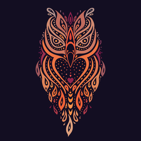 Decorative Owl. Ethnic pattern. Vector