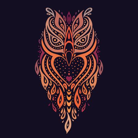 polynesian: Decorative Owl. Ethnic pattern.