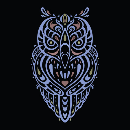 eagle owl: Decorative Owl. Ethnic pattern.