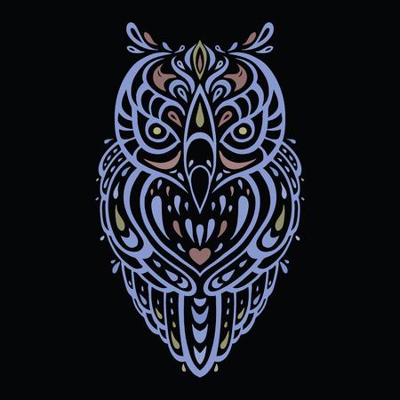 owl tattoo: Decorative Owl. Ethnic pattern.