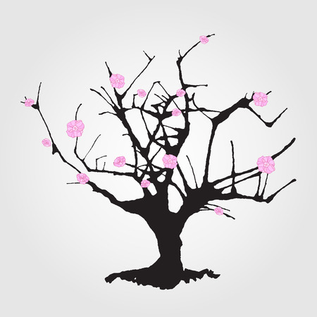 sumi e: Tree in Chinese style. Illustration