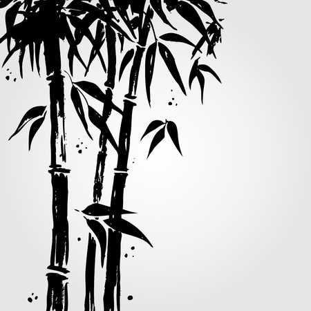 ink painting: Bamboo in Chinese style.