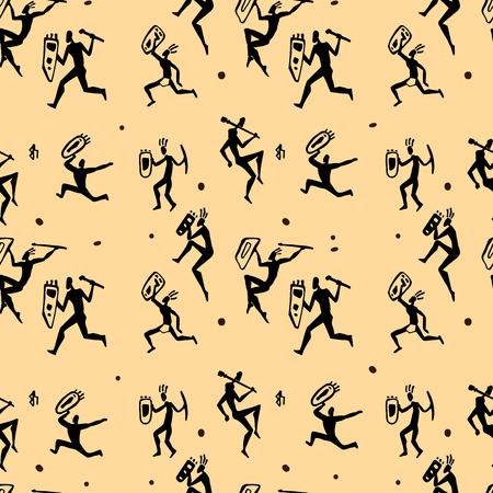 edad de piedra: Cazadores africanos. Modelo inconsútil del vector. Vectores