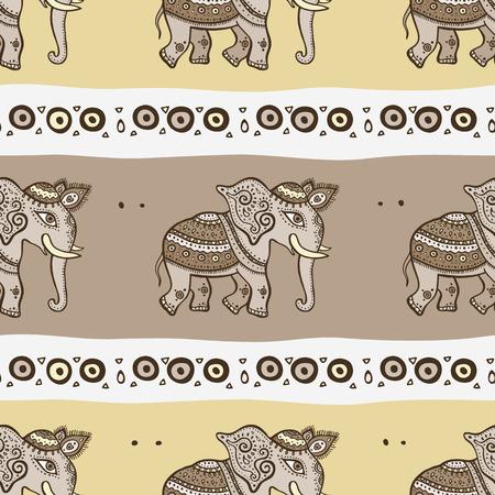 Elephants. Ethnic seamless background. Vector