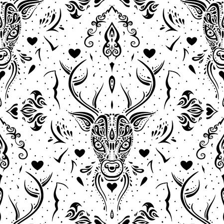 Deer head. Seamless pattern. Vector