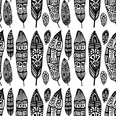 Vintage Feathers. Seamless background. Vector