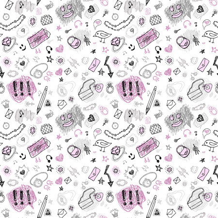 Back to school. Hand drawn seamless pattern. Vector