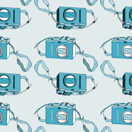 Photo camera. Seamless pattern. Vector