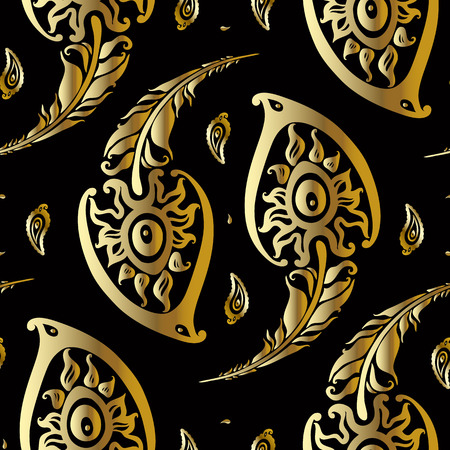 Beautiful peacock feathers. Gold pattern. Vector