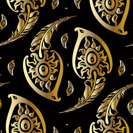 Beautiful peacock feathers. Gold pattern. Illustration