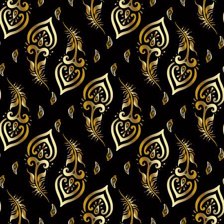 Schöne Pfauenfedern. Gold-Muster. Standard-Bild - 32260577