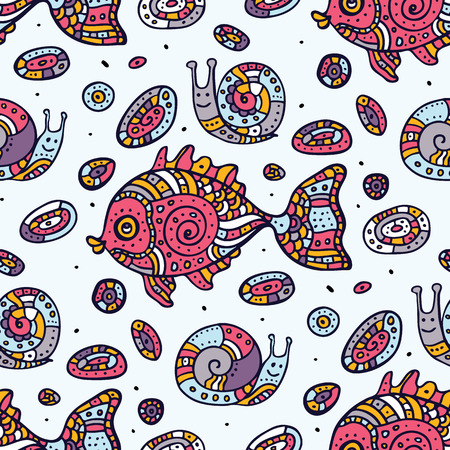 Fishes. Seamless pattern. Vector