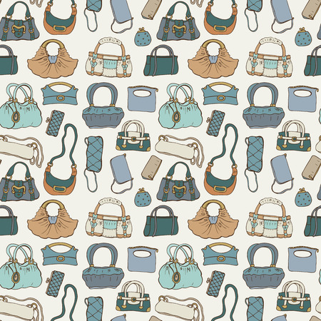 girl sketch: Women handbags. Seamless pattern.