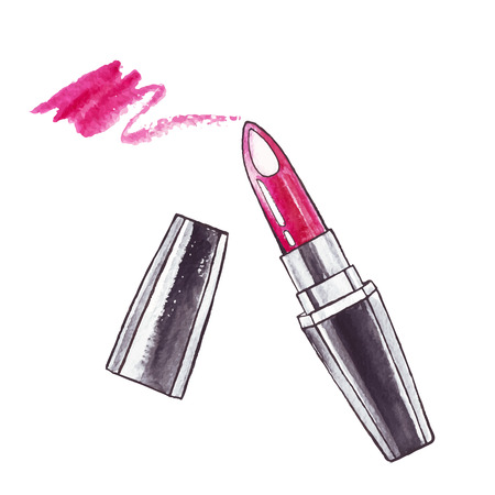 beauty make up: Bella Acquerello Rossetto. Vettoriali