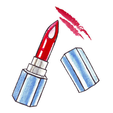 Beautiful Watercolor Lipstick. Vector