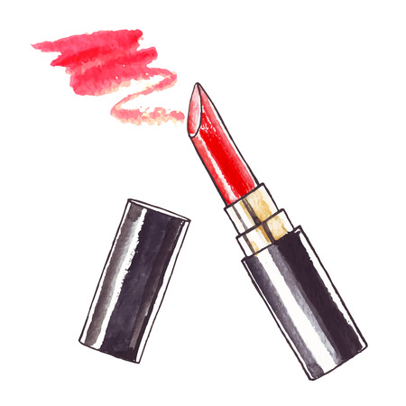 Mooie aquarel Lipstick. Stock Illustratie