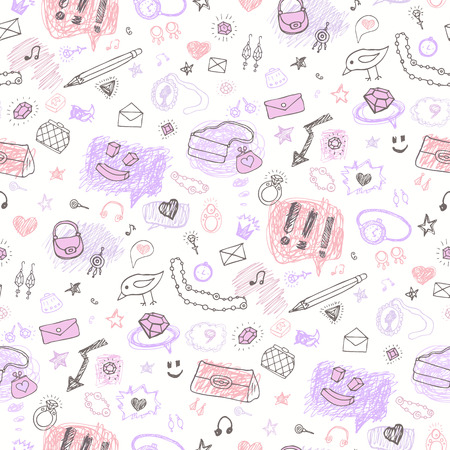 Hand drawn seamless pattern. Vector
