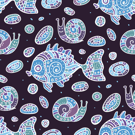 Fishes Seamless pattern. Vector