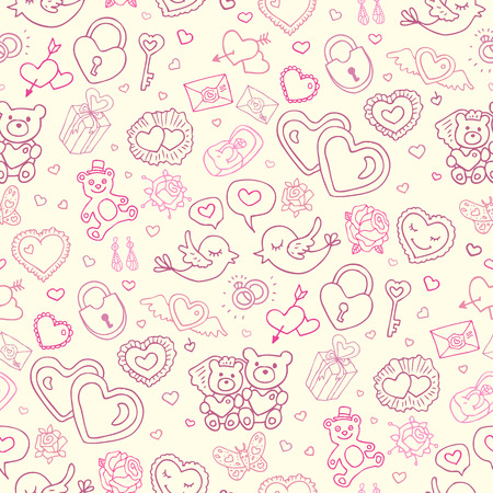 glamorous couple: Wedding patterns of cute hand drawn illustration. Seamless vector background. Illustration
