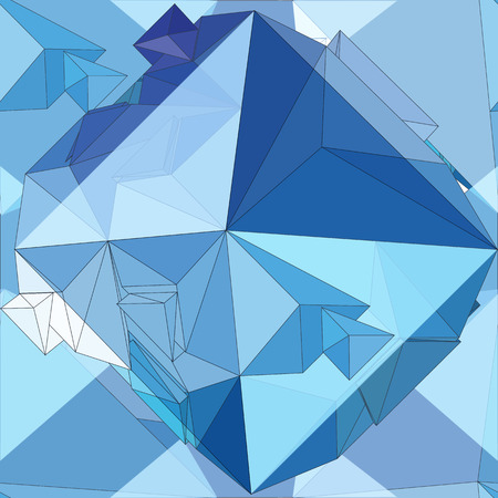 Crystal. Seamless 3D Geometric background. Vector