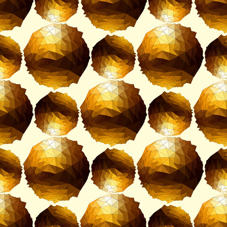 Disco ball. Gold seamless background. Vector