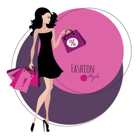 shopping mall: Fashion girl. Woman with shopping bags.