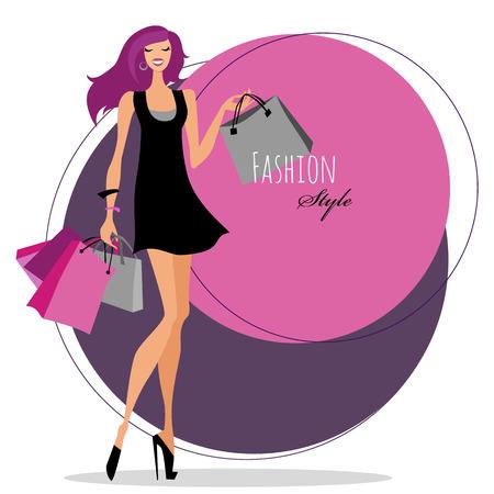 shopaholics: Fashion girl. Woman with shopping bags.