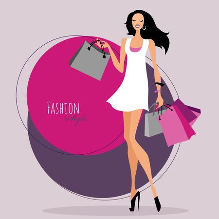 패션 소녀입니다. 쇼핑 가방을 가진 여자입니다. 일러스트