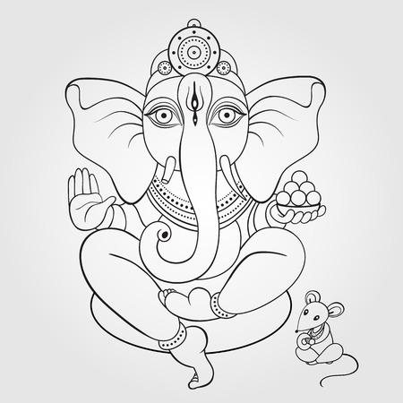 Dibujado a mano ilustración Señor Ganesha. Vectores