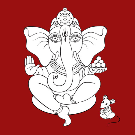 Lord Ganesha Hand drawn illustration. Vector