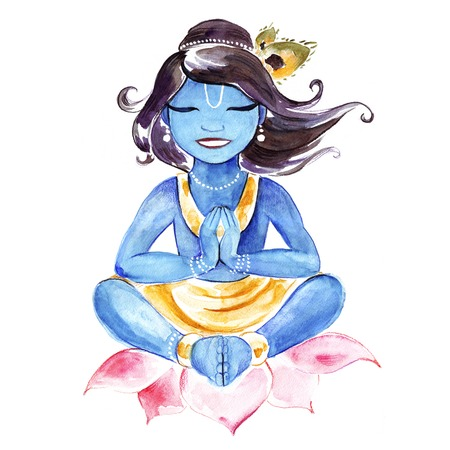krishna: Indian God Krishna. Watercolor illustration.