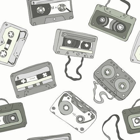 mono color: Seamless pattern of retro cassette tapes