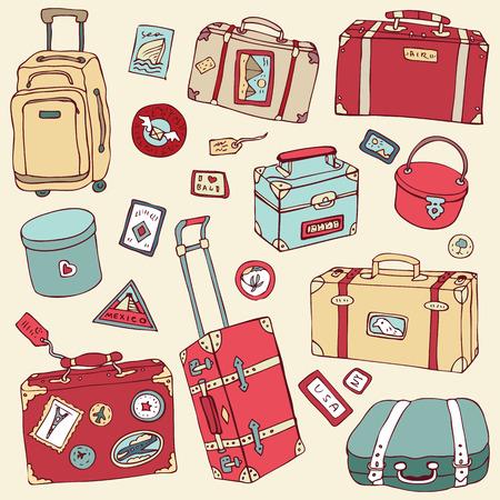 suitcase: Vintage suitcases set. Travel Vector illustration. Illustration