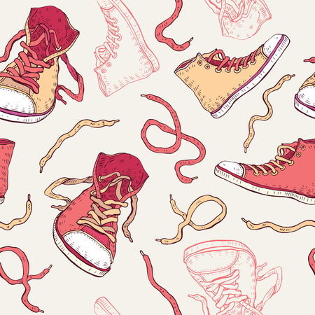 child running: Sneakers. Shoes Seamless pattern.
