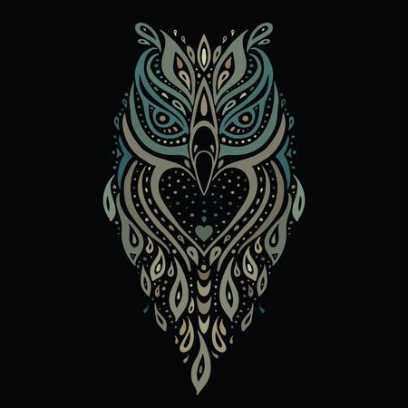 isolated owl: Decorative Owl. Ethnic pattern.